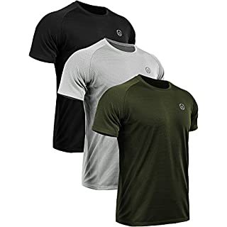 Neleus Men's 3 Pack Mesh Athletic Running T Shirt,5033,Black,Grey,Olive Green,US M,EU L