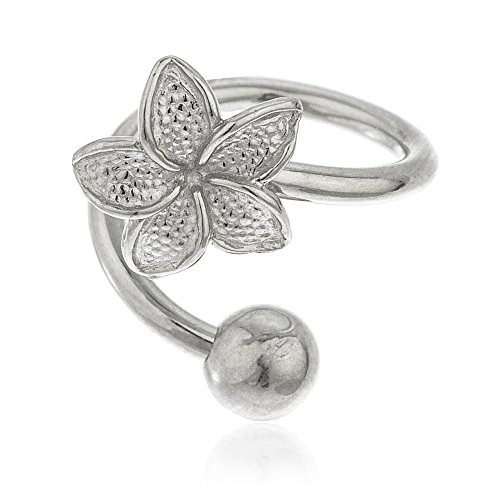 JOTW 10k White Gold Flower Spiral Belly Button Ring (GO-678) 14k Gold Spiral Barbell