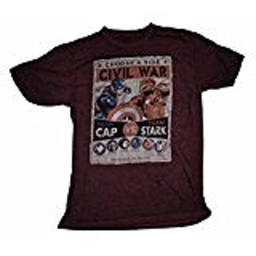 Marvel Comics Captain America Civil War Team Cap Vs Team Stark T-Shirt – Medium