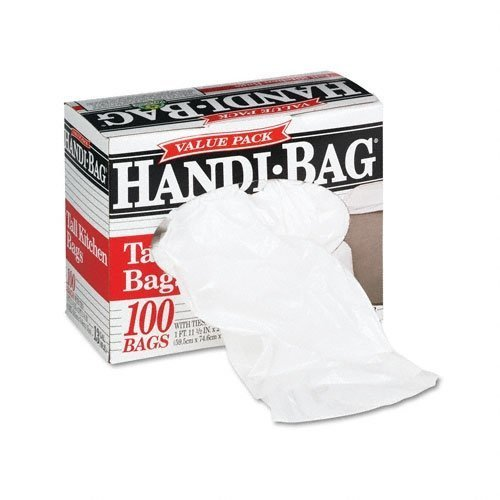 Webster Super Value Pack Trash Bags, 13gal, .6mil, 23 1/2 x 29 3/8, White, 100/Box (WBIHAB6FK100) Category: Commercial Can Liners by Handi-Bag
