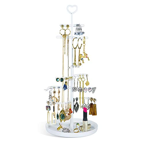 SRIWATANA Jewelry Tree Stand, Metal Jewelry Organizer for Earrings, Necklace, Bracelet and More, Pearl White (Stand Jewelry Metal Tree)