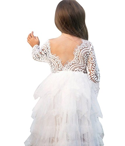 NNJXD Girl Lace Back Tutu Tulle Flower Girls Princess Party Dress Size (130) 7-8 Years White ()
