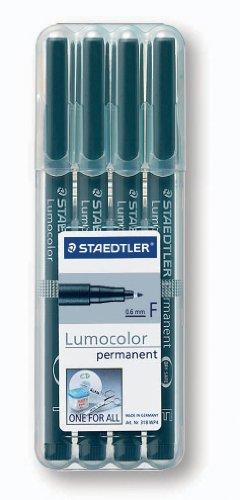 Staedtler 318-9WP4HZ Lumocolor permanent F Folienstift schwarz, 4 Stück in aufstellbarer Staedtler-Box