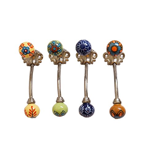 Ceramic Knobs Kitchen Cabinet Cupboard Door Knobs Dresser Wardrobe and Drawer Pull (Set of 4, Pictis Capita)