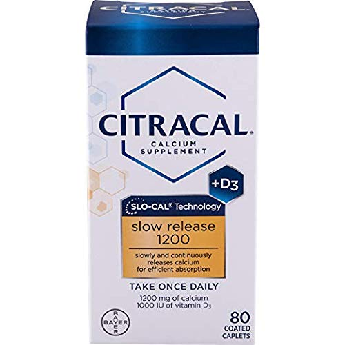 Citracal Slow Release 1200, 1200 mg Calcium Citrate and Calcium 2 Packs (80 Count) Original Prescription Strength