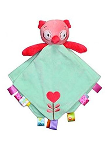 Taggies Rattle Head Owl Baby Girl's Plush Security Blanket - Green Le Top Receiving Blanket