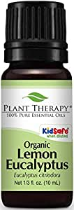 Plant Therapy USDA Certified Organic Eucalyptus Lemon Essential Oil. 100% Pure, Undiluted, Therapeutic Grade. 10 ml (1/3 oz).