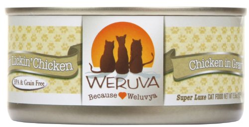 Weruva Classic Cat Food, Paw Lickin Chicken with Chicken Breast in Gravy, 5.5oz Can (Pack of 24)