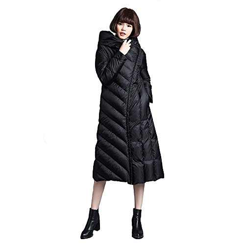 FARCOKO 2017 Winter Women's Down Jacket Slim Hooded Down Jackets Thickening Warm Woman Down Coat (Black, XL) by FARCOKO (Image #6)