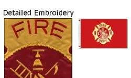 3x5 Fire Department Flag Double Sided Nylon Embroidered Firefighter Banner (Embroidery Dept Fire)