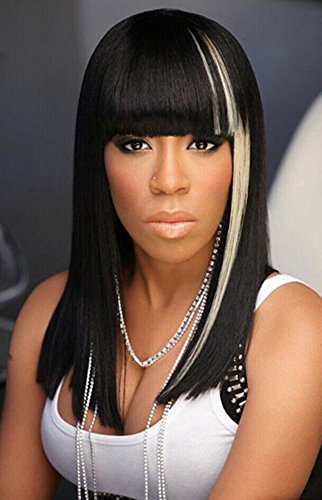 Fashion Long Natural Black White Highlight Silky Straight Synthetic Hair Wigs For Black Women With Neat