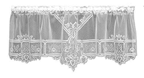 Heritage Lace Heirloom 60-Inch Wide by 22-Inch Drop Sheer Valance, White