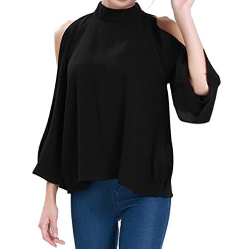 cd2fc5bc7b8a45 K Women s Cold Shoulder Top Bell Sleeve Flowy High Neck Chiffon Blouse