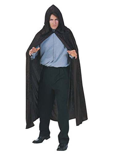 Hooded Velvet Black Cape Adult Costume -