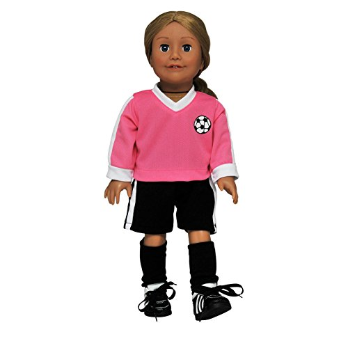 "- The Queen's Treasures 18 Inch Doll Soccer Outfit Set Comes Complete With Shorts, Soccer Jersey And Socks. Designed to Fit 18"" American Girl Dolls."