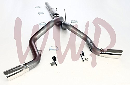 """Dual 4"""" Performance Race Racing Cat Back Exhaust Muffler System Kit & Polished Tips For 2004.5 to 2007 Dodge Ram 2500/3500 Cummins 5.9L Turbo Diesel Pickup Truck 600/610 Only"""