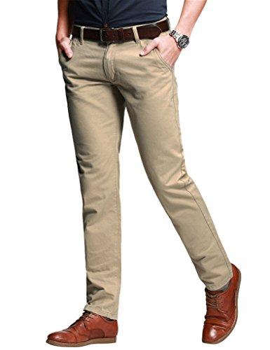 (Match Men's Slim Fit Tapered Stretchy Casual Pants (42W x 31L, 8050 Apricot))