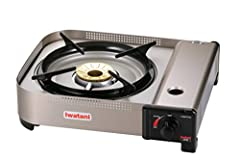 15,000 BTU/h Butane Gas Stove, Brass Burner, Heat Panel, Piezo-Electric Ignition, Built-In Windbreaker, Automatic Safety Stop, Plastic Carrying Case, CSA Commercial Indoor Approved, Magnetic Locking System.