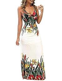 Vestido Largo para Mujer, sin Mangas, Estampado Floral, Cuello en V, para Playa, Fiesta, Bohemio, Maxi
