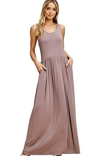Annabelle Women's Sleeveless Racerback Loose Fit Plain Maxi Dresses Casual Full Length Long Dresses with Side Pockets Taupe Grey Small D5187K -