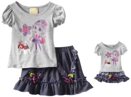 Dollie & Me Little Girls' Screenprint Denim Skooter Set