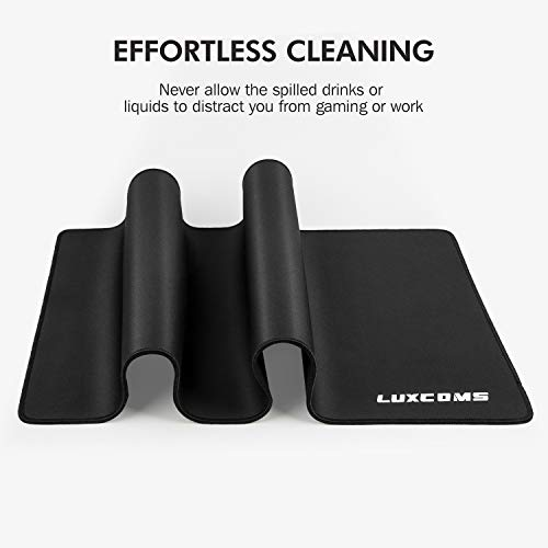 LUXCOMS Extended Gaming Mouse Pad (31.5×15.75×0.12 Inch) Computer Keyboard Mousepad Mouse Mat, Water-Resistant, Non-Slip Base, Durable Stitched Edges,Mouse Mat for Gamer, Office & Home, Black (LST080)