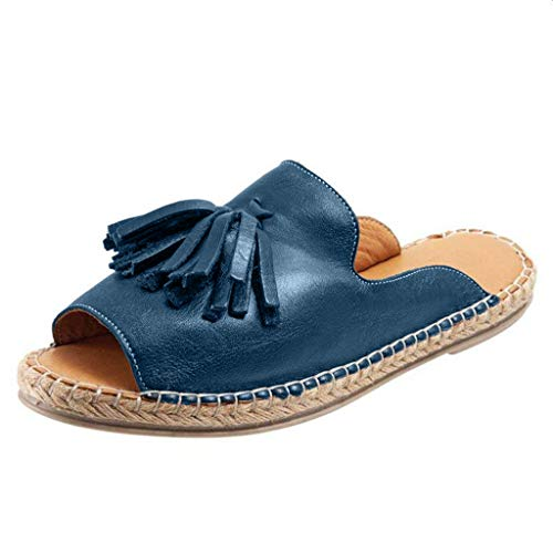 ◕‿◕ Watere◕‿◕ Women Flat Slip On Peep Toe Roman Slipper Shoes Sandals Shallow Mouth Casual Fringed Fish Mouth Slippers Dark Blue