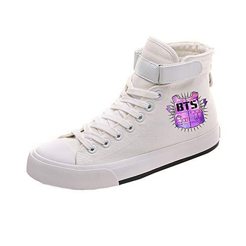 Lona White18 De Con Alta Casuales Personalidad Pareja Cordones Ayuda Zapatos Popular Bts Cómodo n8S677
