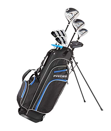 Precise M3 Men's Complete Golf Clubs Package Set Includes Driver, Fairway, Hybrid, 6-PW, Putter, Stand Bag, 3 H/C's - Right Handed - Regular or Tall Size (Blue - Tall Size +1
