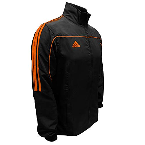 adidas Martial Arts 3-Stripes Light Tracksuit 100% Polyester Long Sleeve Jacket - Black Neon Orange - 128 (Youth Small)