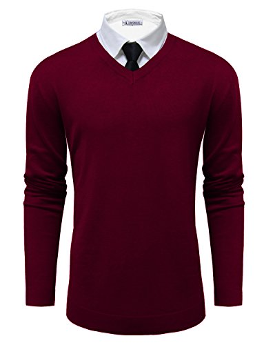 - TAM Ware Mens Classic V-Neck Long Sleeve Sweater TWMV06-WINE-US M