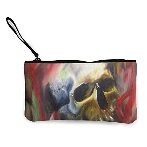 Oomato Canvas Coin Purse Skull Painting Bone Cosmetic Makeup Storage Wallet Clutch Purse Pencil Bag]()