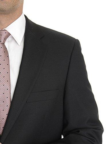 Super 120 Wool Suit (Profilo Classic Fit Solid Black Two Button Super 120's Wool Blazer Sportcoat 44R)
