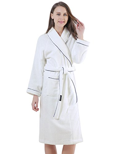 Sanli Terry Cotton Cloth Plush Kimono Bathrobe, Soft, Thick, Long Sleeve, Bath Shower Spa Robes for Women M White -