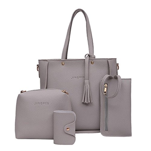 Leather Fashion Womens Shoulder Set Shoulder Gray Bag Ladies Solid Color BESTOPPEN Bag Crossbody Girls Women Pink Body Four 2 Cross Casual Handbag Wallt Clearance 2 n5XwqAY6