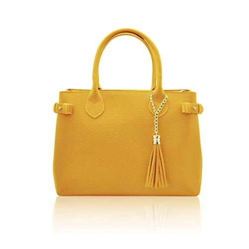 VERONICA Borsa a mano con ciondolo frange pelle ruga Epi Made in Italy giallo