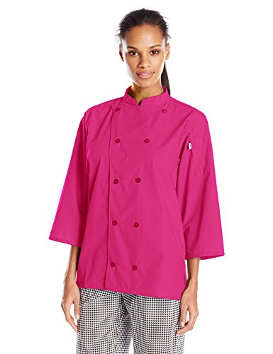 Uncommon Threads Unisex  Epic 3/4 Sleeve Chef Shirt, Berry, X-Large