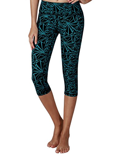 Yoga Reflex - Yoga Capris for Women - Performance Activewear Printed Yoga Capri - Hidden Pocket (From XS to 2XL) , Seamlesgeodarkgreen , XX-Large