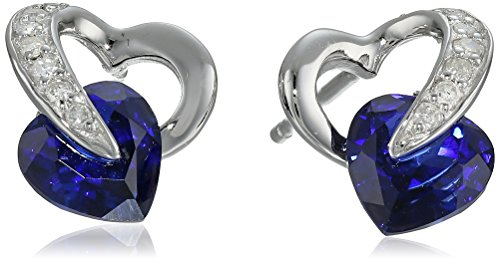 10k White Gold Created Blue Sapphire Diamond Heart Earrings (1/12 cttw, I-J Color, I2-3 Clarity) 10k White Gold Created Sapphire
