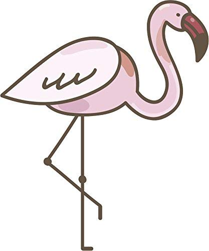 EW Designs Pretty Light Pink Flamingo Cartoon Emoji Vinyl Decal Bumper Sticker (12