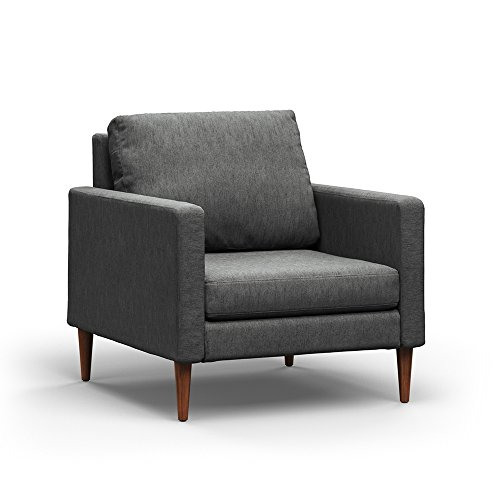 Campaign Steel Frame Brushed Weave Accent Chair, 33 Inches, Flint Grey with Mahogany Stained Solid Oak Legs Review