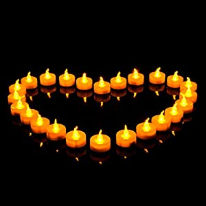Youngerbaby 100pcs Amber Yellow Battery-powered Flameless Flickering Led Tea Light for Weddings, Outdoor, Restaurants and Parties (100, Flicker)