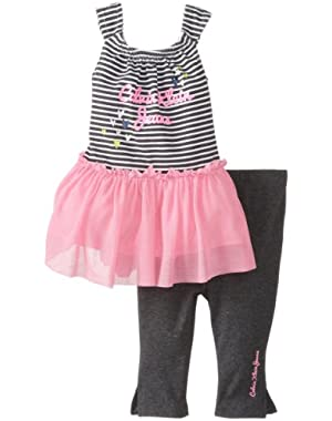 Baby Girls' Stripes Tunic with Charcoal Leggings