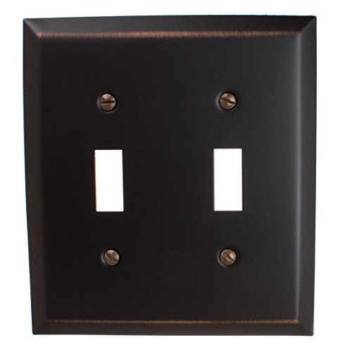 Bronze Double Toggle - GlideRite Hardware Wall Plate Cover for Toggle Light Switches – Steel 2-Gang Square Beveled Receptacle for Kitchen, Bath, or Living Rooms (Double Toggle, Oil Rubbed Bronze)