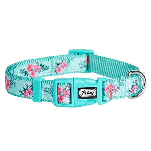 Pinqi Nylon Dog Collar Spring Scent Fresh Flower Pattern Printing on Premium Ribbon,Adjustable and Duralble Collar for Puppies or Heavy Duty - Adjustable Dog Ribbon Collar