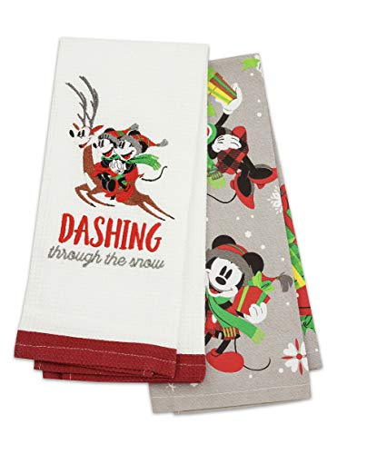 Disney Parks Santa Mickey Mouse and Friends Holiday Kitchen Dish Towel Set of 2
