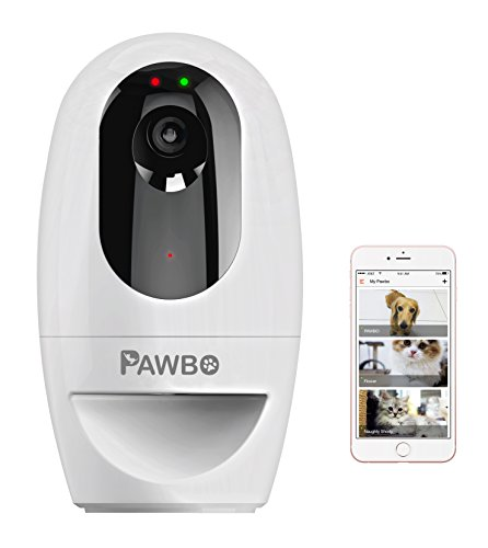 Pawbo Life Wi-Fi Pet Camera: 720p HD Video, 2-Way Audio, Video Recording, Treat Dispenser, and Laser Game