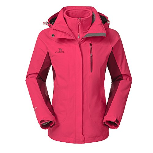 - Camel Women's 3-in-1 Systems Jacket Waterproof Color Coral Red Size Large