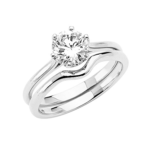 Wellingsale Ladies 14K White Gold Round 6 Prong CZ Cubic Zirconia Cathedral Solitaire Engagement Ring + Wedding Band Bridal Set - Size 5