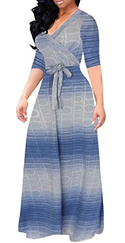 Swing Contrast Half Blue Belted Sleeve Maxi Dress Women's Color Domple Party Wrap fOXE0